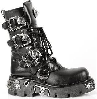 Newrock 391 S1 Black Metallic Reactor Goth Biker Unisex Black Boots