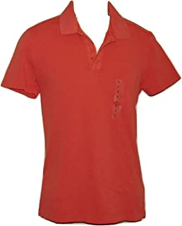 GAP T-Shirt Polo Collared Slim Fit Orange Solid Cotton S Men Short Sleeve Small