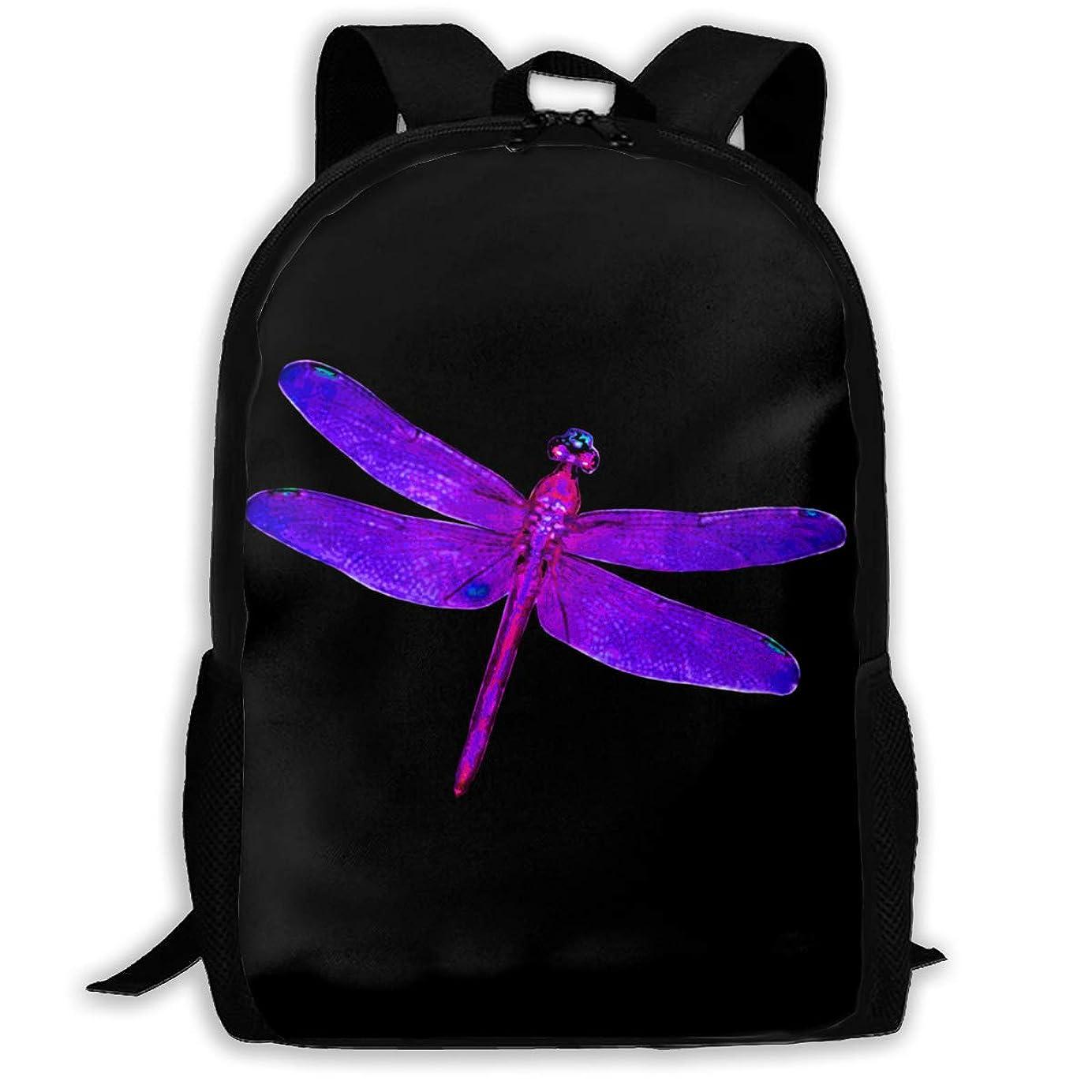 洞察力のある抵抗干し草おしゃれ カジュアル 軽く Dragonfly ショルダーバッグ 大容量 キッズ 通用する リュック 通学 旅行 運動 ランドセル Black