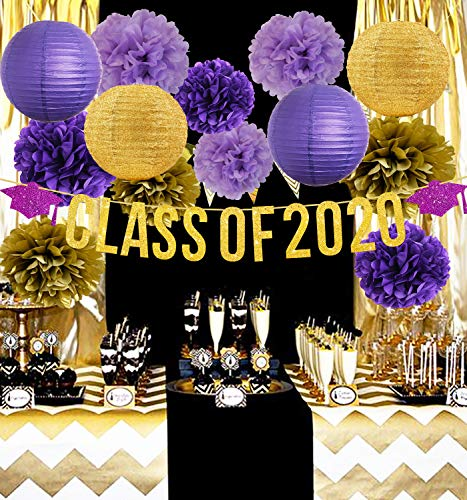 Furuix 2020 Graduation Party Decorations Purple Gold/Class of 2020 Graduation Banners,Graduation Party Decorations