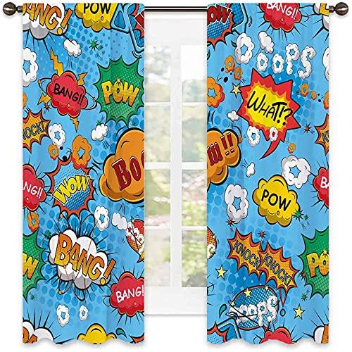 Cortina de aislamiento térmico de héroe, colorido estilo cómic iconos efectos Boom Scream Magazine Signs Pop Art Illustarion, para sala de estar o dormitorio, ancho 122 x largo 63 pulgadas, multicolor