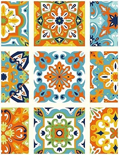 jidan Gemakkelijk te versieren Populaire duurzame achtergronden Dikke Peel en Stick Tegel Marokkaanse Tegel Patroon Behang Vinyl Zelfklevend Contactpapier Decoratief voor Muren Slaapkamer Keuken (Kleur: 45x300cm)