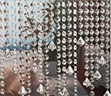 10 x 1m Guirnalda con Colgantes de Cristal Acrílico Clear