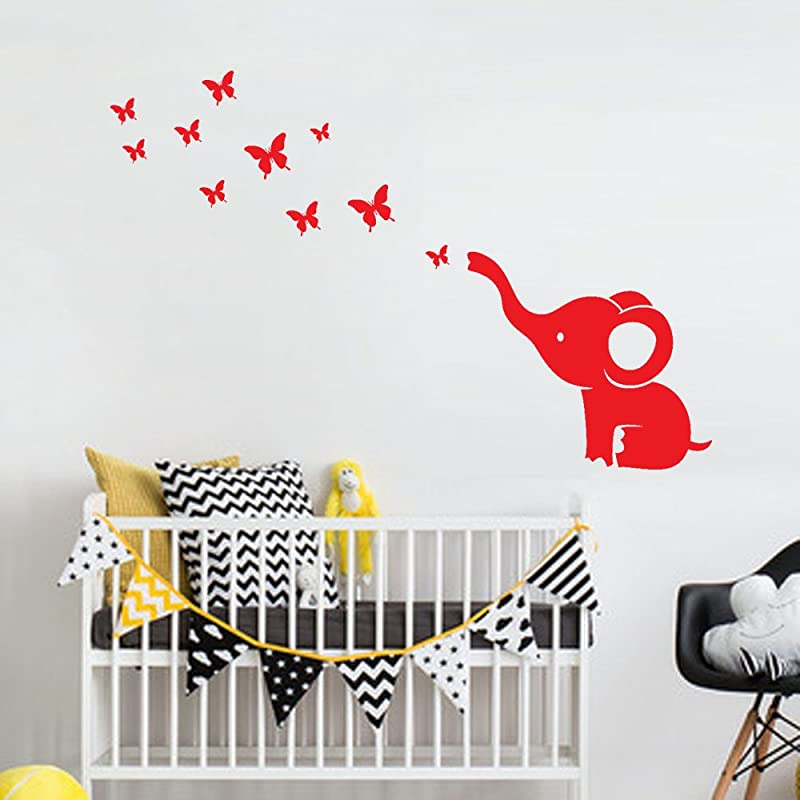 Youmymine 3D DIY Art Elephant Butterfly Wall Stickers Decals Children S Room Home Decoration Red