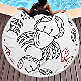 fenrris65 Crab Pattern Seamless Design Template Microfiber Summer Round Large Beach Towel for Yoga Mat Tassel Toalla Blanket,Bath Towel Tapestry (150X150CM)