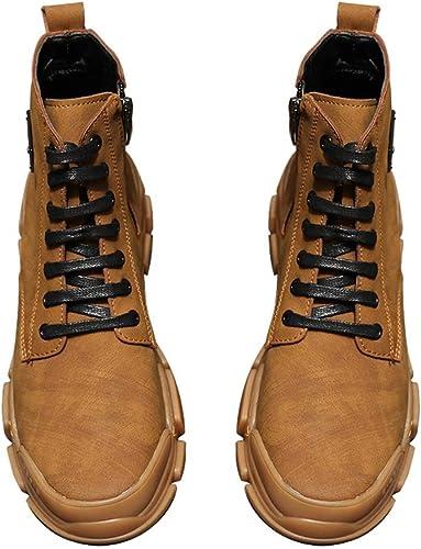 Qiusa Bottes Classiques décontractées pour Hommes Bottes Souples Confortables et Confortables (Couleuré   Marron, Taille   EU 42)