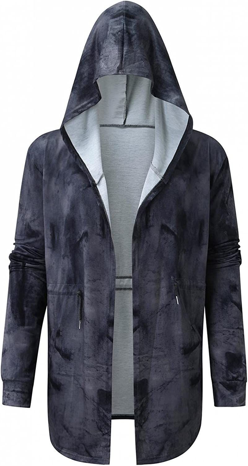 Mens Hooded Cardigan Coat Open Front Longline Draped Hoodies Outwear Classic Casual Cross Print Overcoat with Pockets