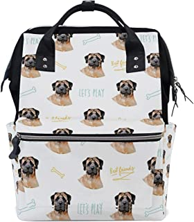 Diaper Bag English Mastiff Dog Pet Backpack for Mom/Dad, Wide Open Multi-Function Travel Backpack Nappy Bags