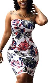 Women Sexy Tropical Summer Dress Strapless Floral Midi Tube Bodycon Party Clubwear