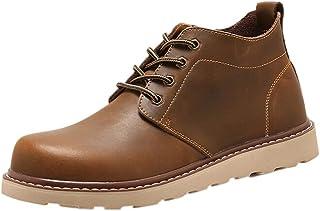 Boots Homme noël Bottes de Combat Flat Sport Chaussures Classiques Bottines en Cuir Hiver Automne Chaud noël Bottes Chauss...