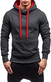 Corriee Men Hoodies Mens Autumn Winter Long Sleeve Solid Cool Hooded Pullover Fashion Sportwear Tops Blouse with Pocket