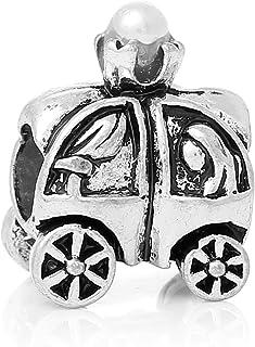 Breloque en forme de carrosse de Cendrillon D/étails soign/és Style Disney Argent sterling Convient pour les bracelets /à breloques europ/éens