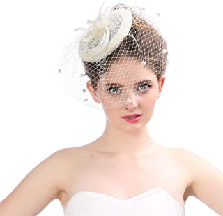 Elevin(TM) Elegant Tulle Birdcage Accessories Bridal Pearl Wedding Veil Headwear Bride