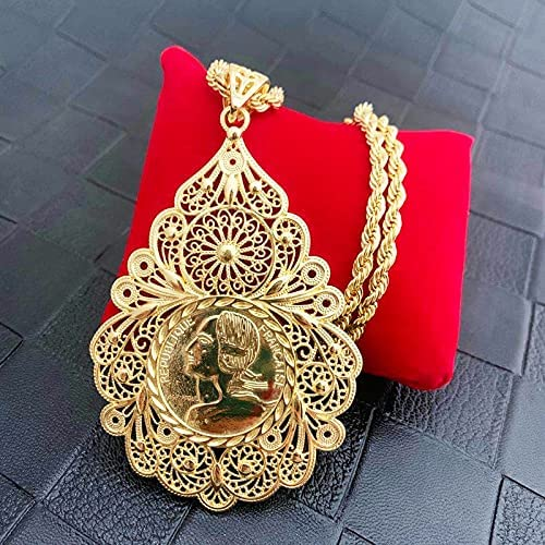 NMKIET Arab Moroccan Style Chain Necklace Luxury Shiny Red Green Crystal Water Drop Pendant Necklace Statement Jewelry (Metal color: gold 1)