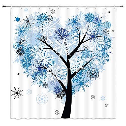 lovedomi Winter Baum Duschvorhang Schneeflocken Weihnachtskugeln Urlaub Blau Liebe Herz Bäume Dekor Stoff Badezimmer Gardinen,Wasserdichtes Polyester mit Haken 72x72 Zoll