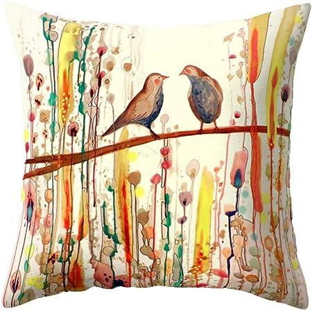 Case Cover Printing Pillow Cotton Linen Cushion Decor Home shivering Bird Sofa
