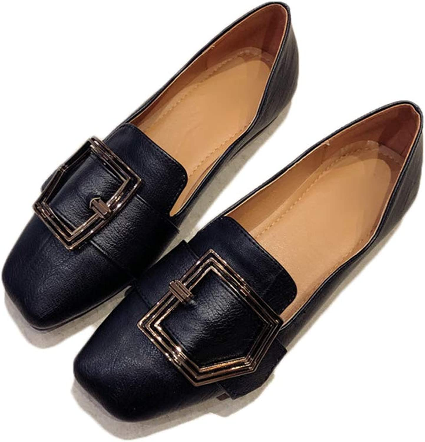 August Jim Womens Flat shoes,Buckle Slip On Loafer Casual Low Flats Square Toe shoes