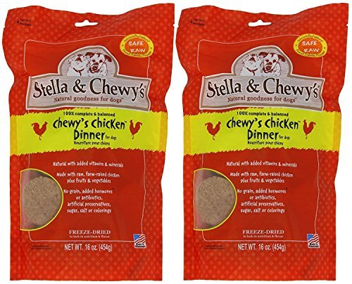 Stella & Chewy s Freeze Dried Dog Food for Adult Dogs, Chicken Patties, 14 Ounce Bag - 2 Pack