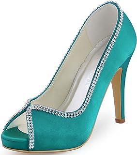 a591f16483 ElegantPark EP11083-IP Women High Heels Rhinestones Peep Toe Pumps Satin  Bridal Party Court Shoes