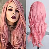 Parrucca Rosa Lunga Donna 58cm Colorata Fashion Capelli Lunghi Ondulati Wavy per Cosplay Halloween Festa Carnevale Party Vari Colori