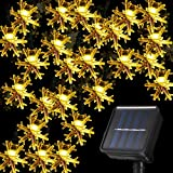 30 LED Solar Snowflake Lights Christmas String Lights 21.3 Feet Waterproof 8 Modes Solar Powered Fairy Lights for Wedding Party Garden Bedroom Outdoor Indoor Christmas Decoration (Warm Light)