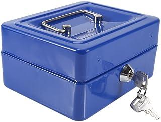 Yosoo Mini Safe Security Box Household Portable Steel Lockable Cash Money Box (Blue)