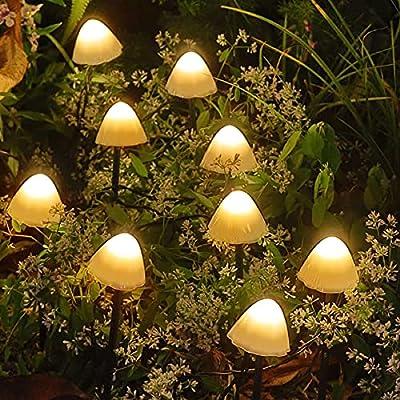 Solar Garden Lights Outdoor, Solar Mushroom Lights 12 Pack LED Waterproof Garden Stake Lights Decorative Pathway Landscape Lighting Ornaments for Patio Yard Lawn Backyard Wedding Party (Warm White)