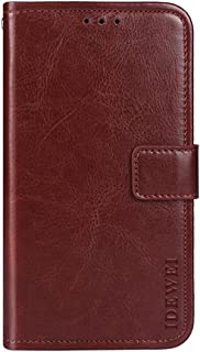 Oppo A57 Case, Happon Wallet Cover Slim PU Leather Holder Magnetic Closure Flip Folding Phone Case with ID & Credit Card Slot for Oppo A57 (Brown)