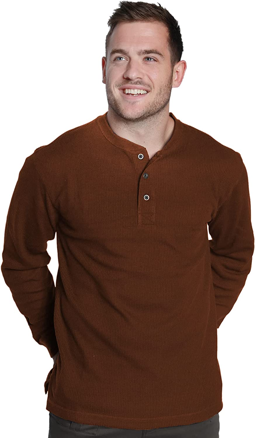 Alpine Lakes Men's Long Sleeve Performance Thermal 3 Button Henley Shirt