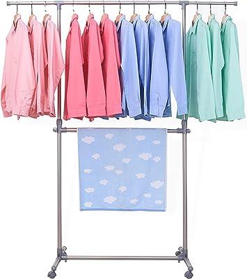 BQKOZFIN 洗濯物干し 室内物干し ハンガーラック 幅100~165×奥行48×高さ115~180㎝ 組み立て簡単 ステンレス グレー