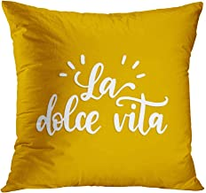 Menmek Throw Pillow Cover Decorative 20 x 20 Inch Pillow Case La Dolce Vita Translated Italian Sweet Inspirational Quotes Home Car Sofa Office Meeting Room Decor Cushion Pillowcase