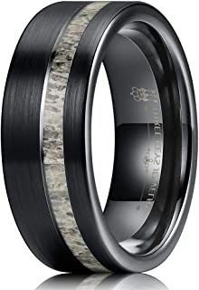 8mm Real Antler/Turquoise Inlay Brushed Tungsten Wedding Ring Black Hunting Band for Men