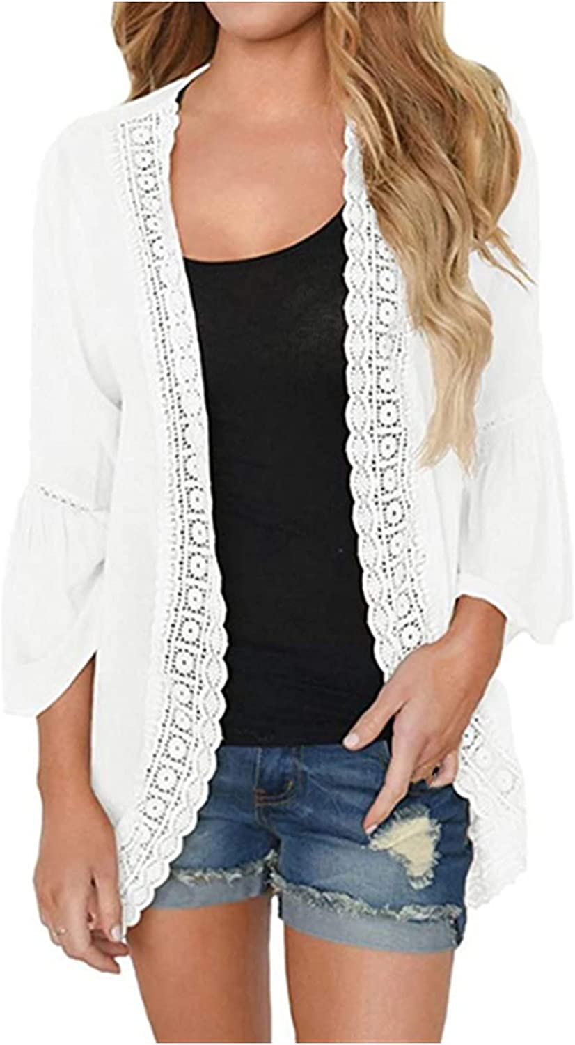 VonVonCo Cardigan Sweaters for Women Casual Pure Lace Long Sleeve Chiffon Cardigan Loose Kimono Blouse Tops