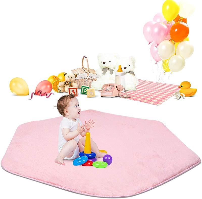 Pink Hexagon Rug Area Rug For Kids Playhouse Princess Tent Super Soft Home Carpet Ground Mat Hexagonal Rug Kids Tent Rugs Children Playhouse Pad