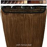 Extension a Clip Cheveux Naturel Rajout Monobande Une Pièce 100% Cheveux Humain Vrai Cheveux Remy #06 Marron clair - 40 cm (45g)