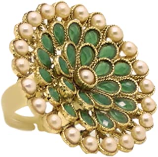 A.R. FASHION Ring For Women Stylish Adjustable 1 Pc - Traditional Ethnic Ring Green
