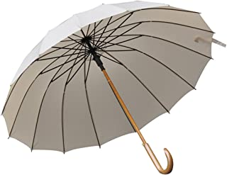 DNSJB Windproof Reinforced Umbrella Rainstorm Dedicated, Easy to Carry Non-Slip Solid Wood Handle Umbrella (Color : Khaki)