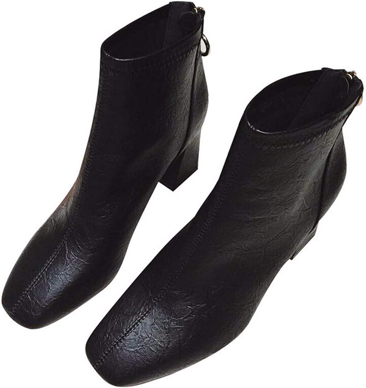 HBDLH Damenschuhe Im Winter Chelsea Stiefel Heel 7 cm Dicke Sohle 100 Stze Retro Martin Stiefel