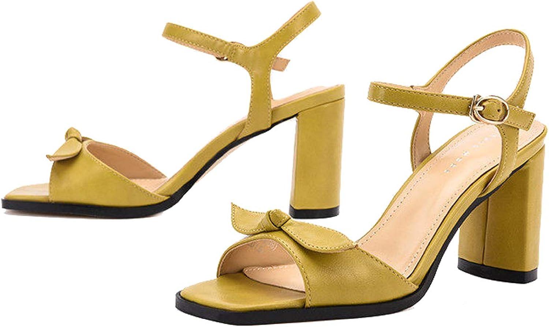 GDLXL Damen Sandalen Exull-q Frauen Sandals Bohemian Flach Sandaletten Sommer PU Leder Zehentrenner YXC-18,Gelb-EU34