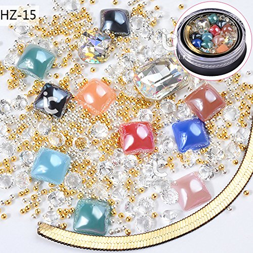ICYCHEER Nagel Art Mix 3D DIY Decorationo Strass Glitter Diamant Punk Goud Metalen Ketting Mini Kralen Kristallen Doos 04