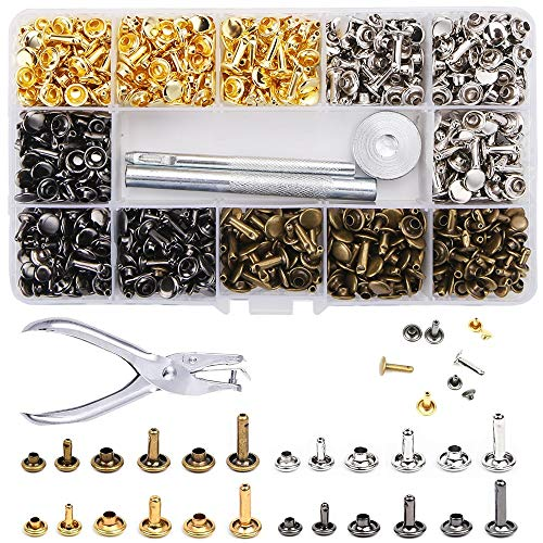 McNory Remaches de Cuero 480 piezas Remache de Doble Tapa 3 Tamaños con Kit de Herramienta de Fijación para Artesanía de Cuero Reparación de Decoración 4 Color