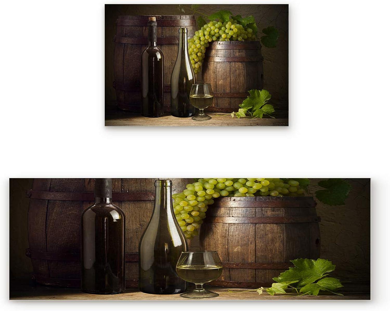 KAROLA 2 Piece Non-Slip Kitchen Mat Doormat Runner Rug Set Thin Low Pile Indoor Area Rugs Wine Bottle Green Grapes 19.7 x31.5 +19.7 x63