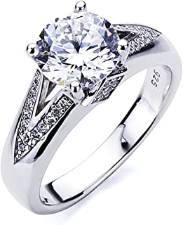 Platinum Plated Sterling Silver Ring 2 carat Round CZ Stone V Pave Design Band Solitaire Wedding Engagement Ring (Size 5 t...