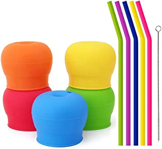 Tougs Silicone Sippy Straw Cup Lids for Toddlers Babies (Pack of 5) - 5 Drinking Straws Included - Reusable, Spill-proof, ...