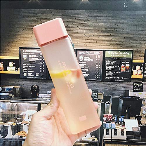 Amsahr New Square Frosted Plastic Water Bottle Portable Transparent Bottle Fruit Juice Leak-Proof Outdoor Sport Travel Camping Bottle-Frosted Pink
