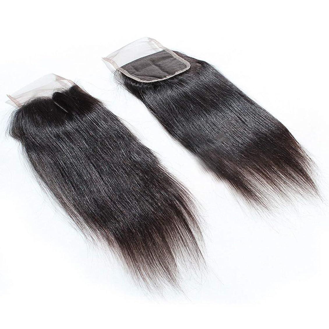 タイト奨励します火山学者HOHYLLYA ストレートブラジル髪4×4レース前頭閉鎖9A人間の髪の毛の絹のようなストレートエクステンションナチュラルブラック8