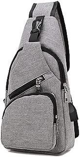 Classic Big Capacity Polyester Sports Outdoor Messenger Shoulder Bag, Multifunctional USB Crossbody Chest Bag Durable Wear Resistant Dark Gray, Dark Blue, Black, Purple (Color : Purple)