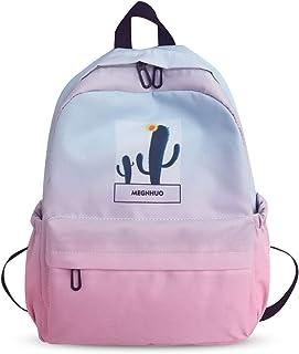 Nuevo Mochila Color Gradual Mochilas Casual Bolsas Escolares Niña Niño Bolsa de Viaje Bolsos de Mujer Adolescente Backpack Outdoor Viaje Infantiles Daypack Impermeable Poliéster Rosado