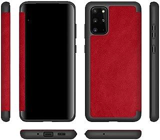 غطاء جلدي قلاب لهاتف Samsung Galaxy S20 Plus مع غطاء أمامي شفاف من البولي يوريثان - أحمر داكن