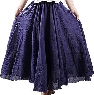 Howely Women Swing High Waist Linen Cotton A-Line Casual Skirt